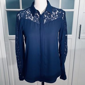Zara navy blouse with lace sleeves and yoke- S